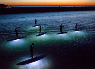 Julia Cumes, stand up paddle nuit